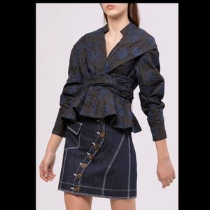ACLER Lella Wrap Blouse Embroidered Top 2 XS S NWT